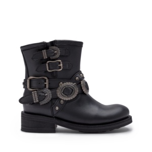 TAO Biker Boots Black Leather & Old Nickel Buckles
