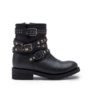 TATOO BIS Biker Boots Black Leather Old Nickel Buckles & Studs
