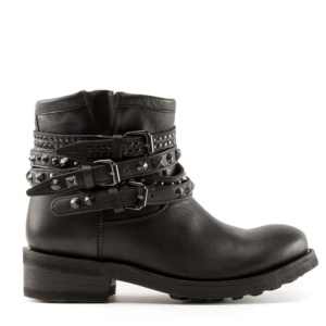 TATUM Buckles & Studs Ankle Biker Boots Black Leather
