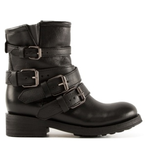 TRAPS Buckles Biker Boots Black Leather