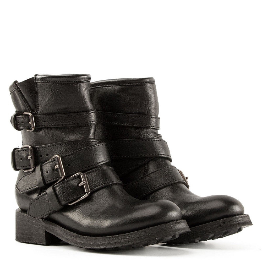 TRAPS Buckles Biker Boots Black Leather - Item1