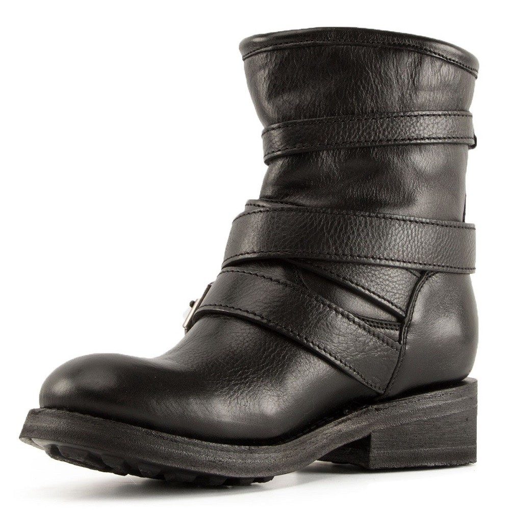 TRAPS Buckles Biker Boots Black Leather - Item2