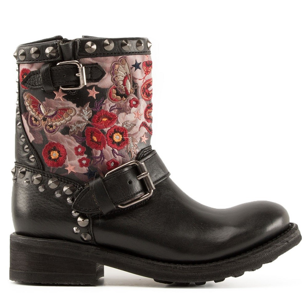 TRIANA Embroidered Biker Boots Black Leather - Item