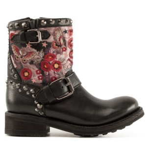 TRIANA Embroidered Biker Boots Black Leather