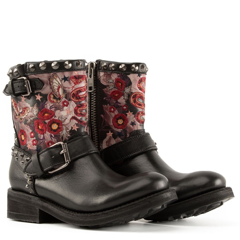 TRIANA Embroidered Biker Boots Black Leather - Item1