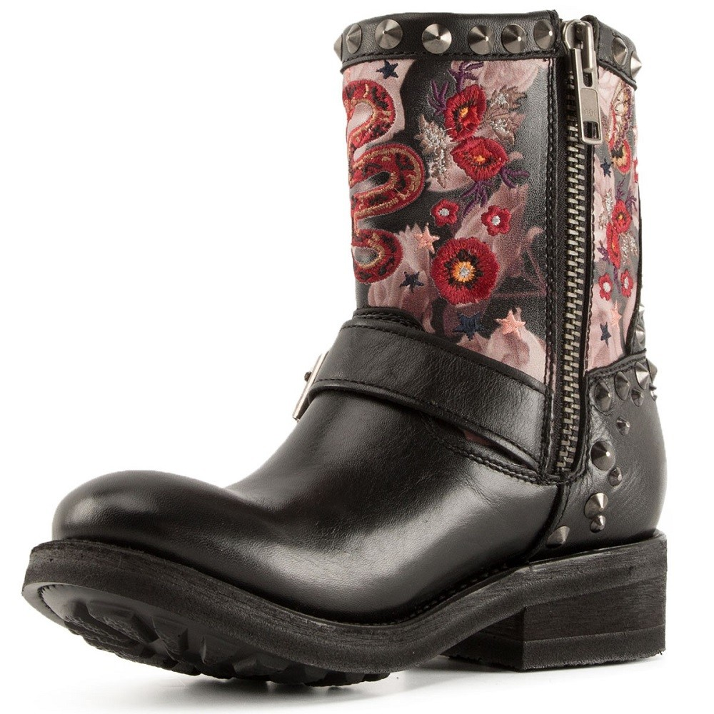 TRIANA Embroidered Biker Boots Black Leather - Item2