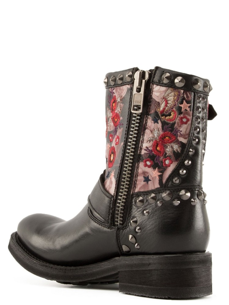 TRIANA Embroidered Biker Boots Black Leather - Item3