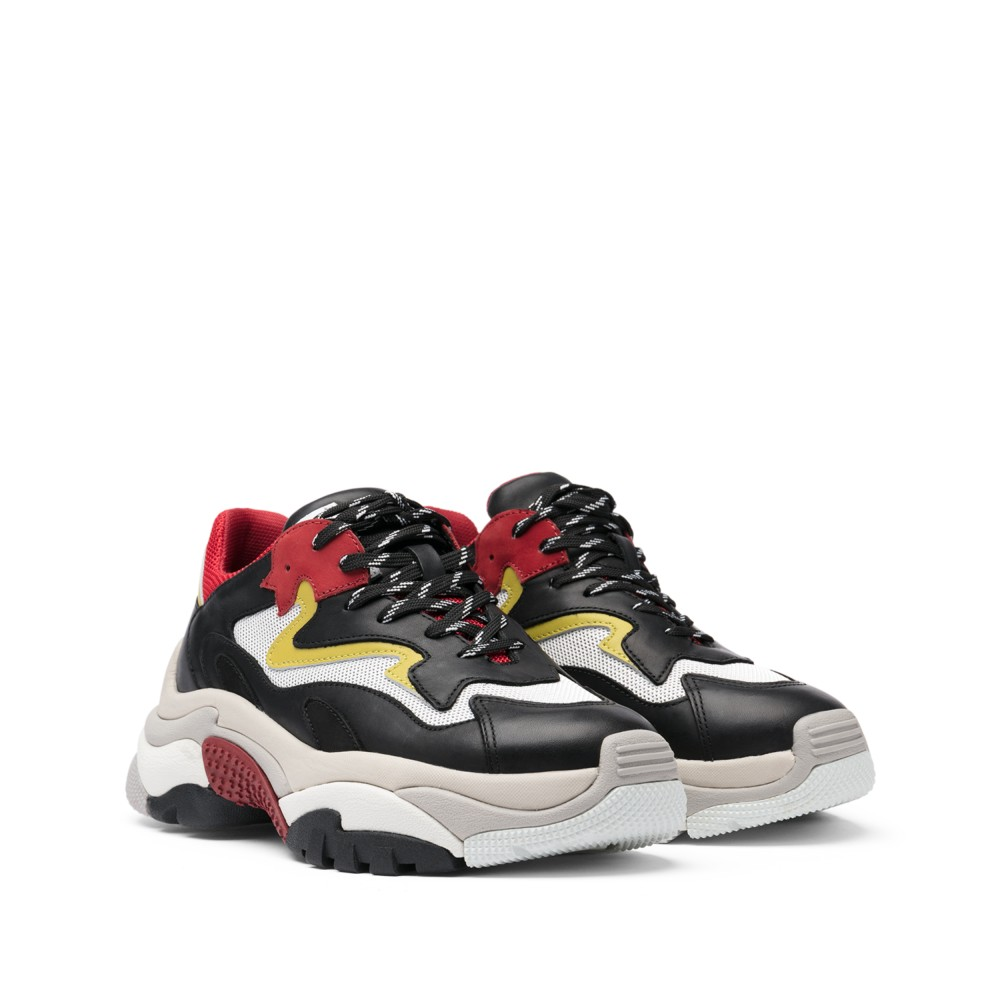 ADDICT XXL Trainers Black Leather & Red Mesh - Item1