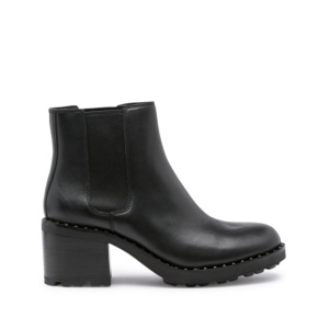 XAO Chelsea Boots Black Leather with Silver Studs