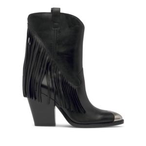 ELISON Cowboy Ankle Boots Black Leather
