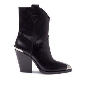 ELVIS Cowboy Ankle Boots Black Leather