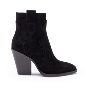 ESQUIRE Cowboy Ankle Boots Black Suede