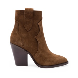 ESQUIRE Cowboy Ankle Boots Russet Suede