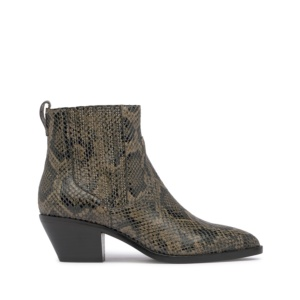FLOYD BIS Cowboy Ankle Boots Taupe Python Print