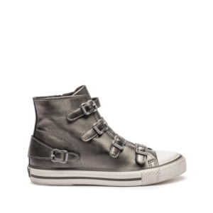 VIRGIN Buckle Trainers Metallic Stone Leather