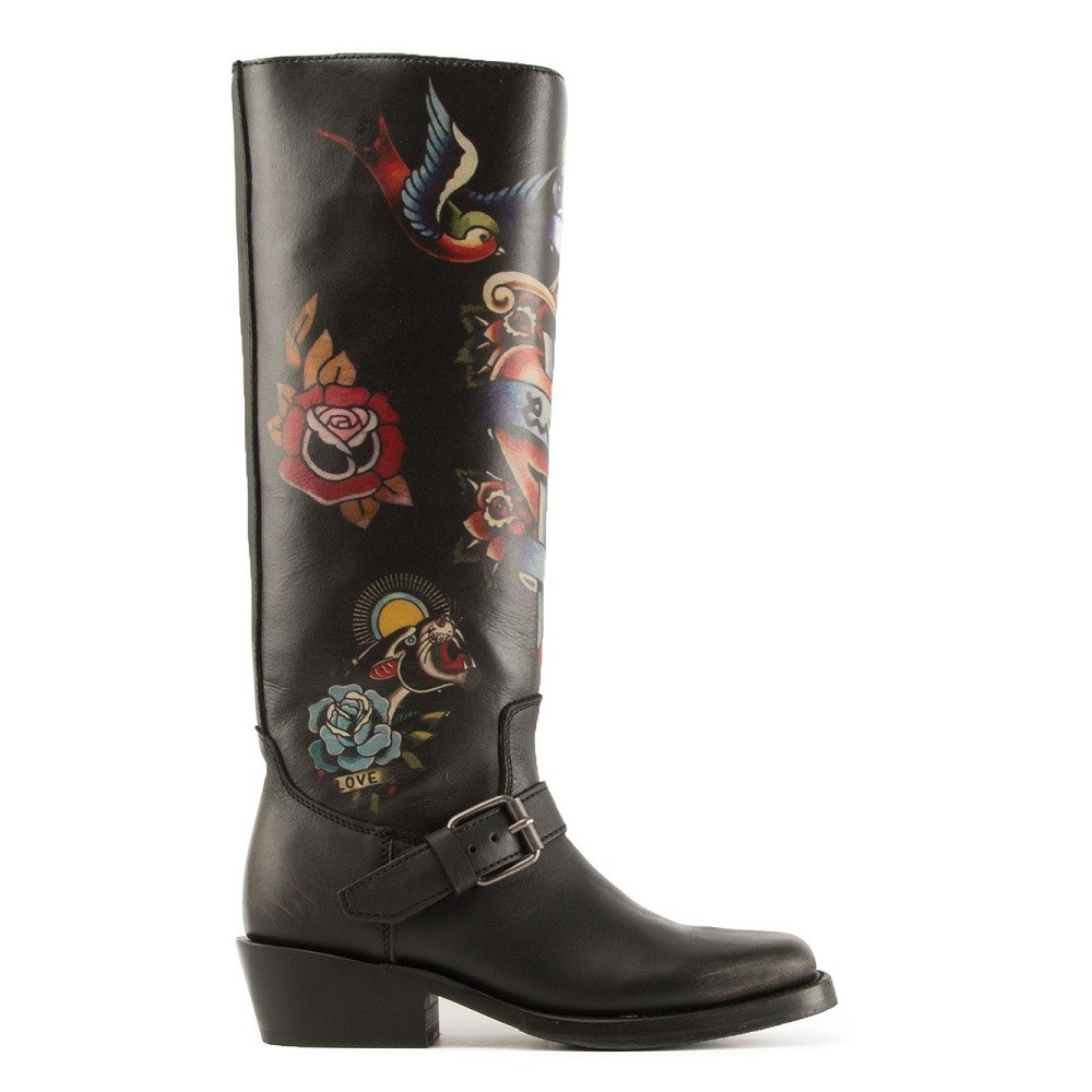 NAVAJO Painted Biker Boots Black Leather - Item