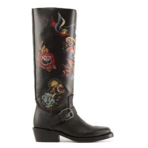 NAVAJO Painted Biker Boots Black Leather