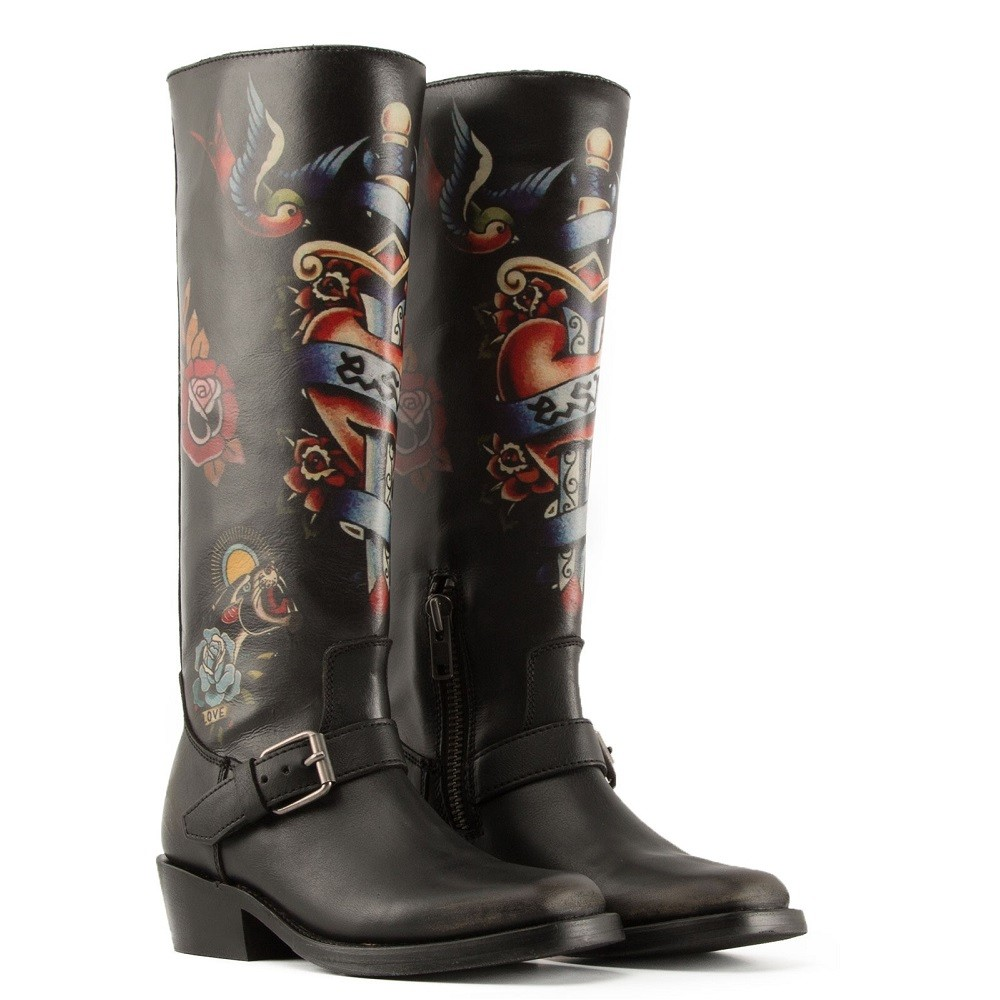NAVAJO Painted Biker Boots Black Leather - Item1