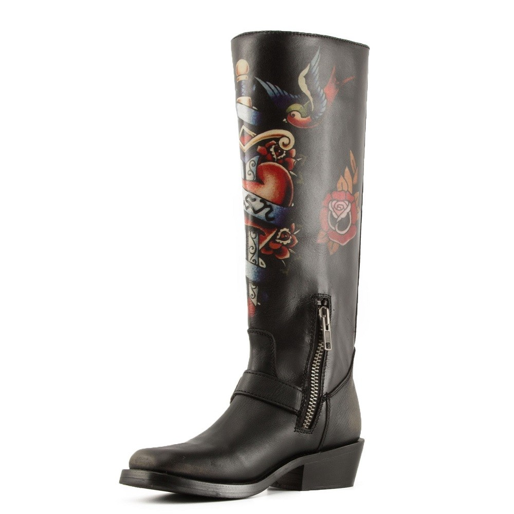NAVAJO Painted Biker Boots Black Leather - Item2