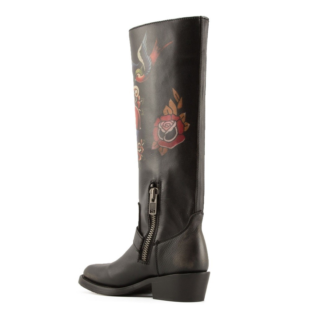 NAVAJO Painted Biker Boots Black Leather - Item3