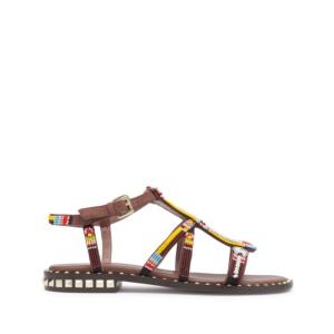POLYNESIA Beaded Sandals In Mogano Suede & Studs