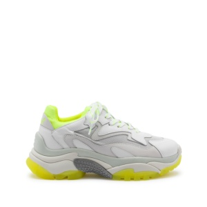 ADDICT XXL Trainers White Leather & Yellow Fluo