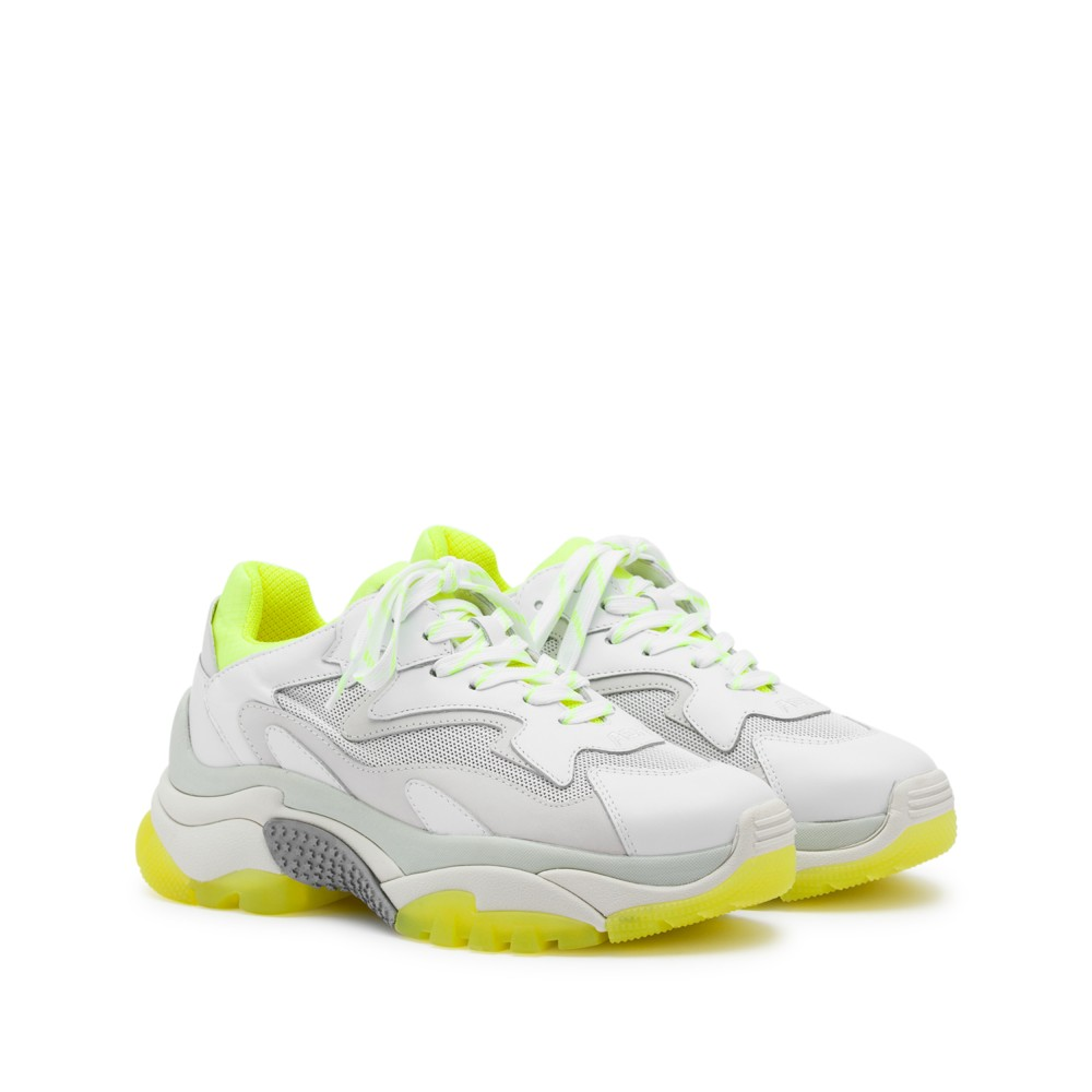 ADDICT XXL Trainers White Leather & Yellow Fluo - Item1