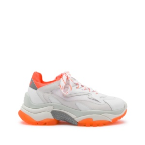 ADDICT XXL Trainers White Leather & Orange Fluo