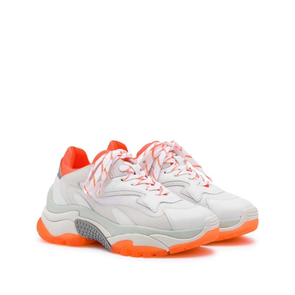 ADDICT XXL Trainers White Leather & Orange Fluo - Item1