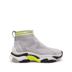 ADDICT STRETCH XXL Sock Trainers in Light Grey/Fluo Yellow Stretch Knit & Suede