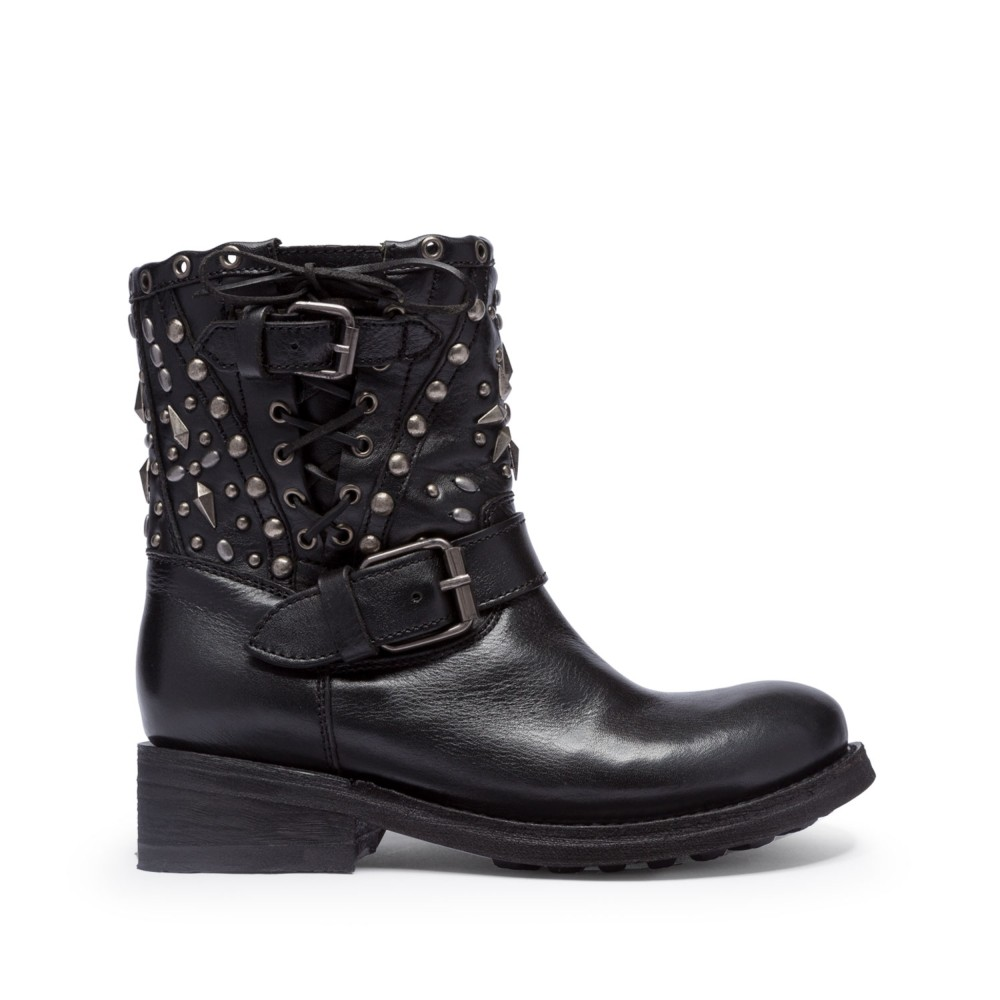 TRIPPY Studs Biker Boots Black Leather - Item
