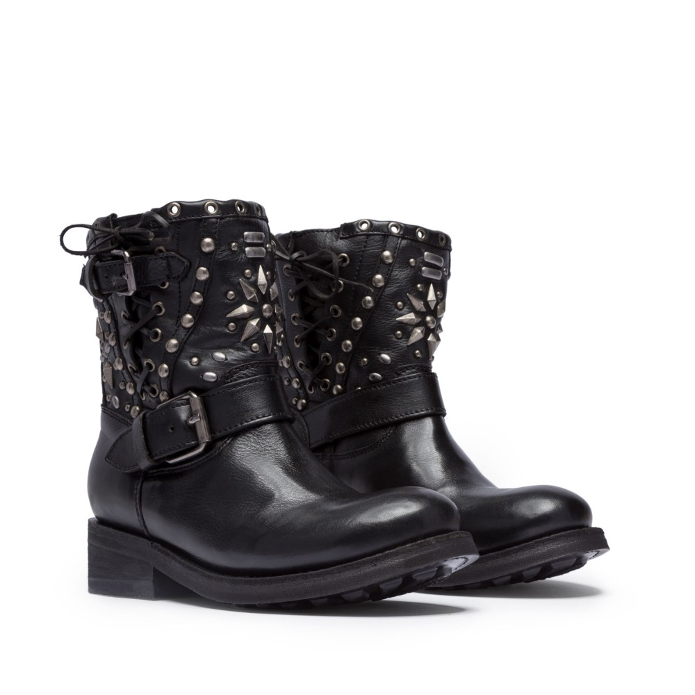 TRIPPY Studs Biker Boots Black Leather - Item1