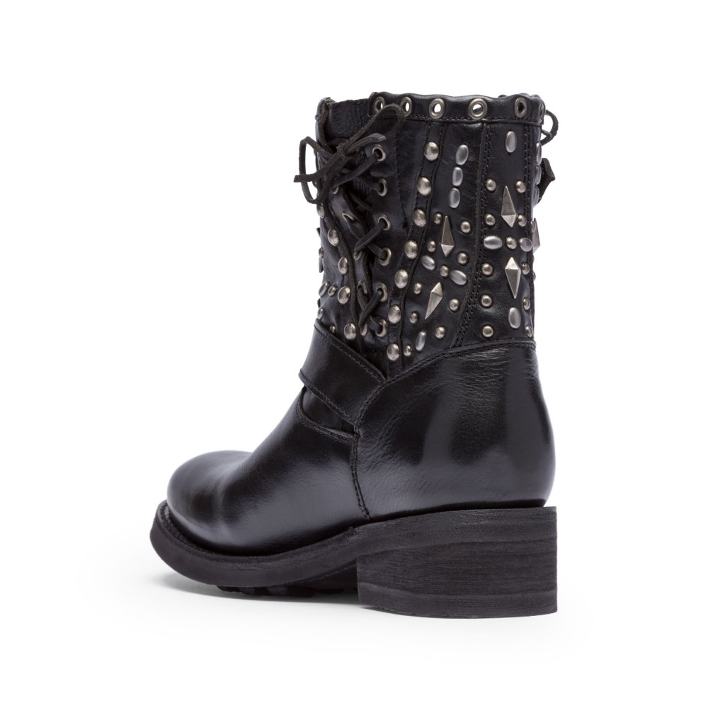 TRIPPY Studs Biker Boots Black Leather - Item2