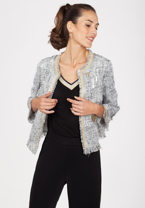 Chaqueta tweed estampada