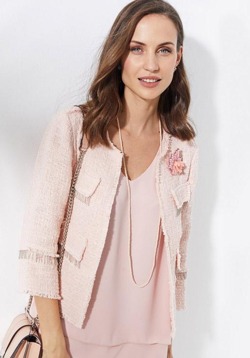 Chaqueta tweed rosa