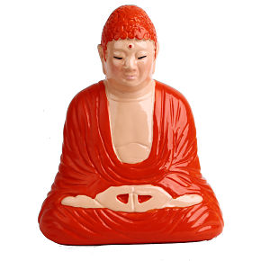 BUDHA PIGGYBANK MEDITATION (orange/pink)