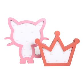 WOODEN LED FIGURE CAT + CROWN HF