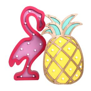 WOODEN LED FIGURES FLAMINGO + PINEAPPLE HF