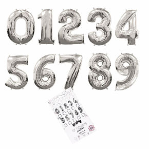 BALLOONS SILVER NUMBERS 80cm s30d HF
