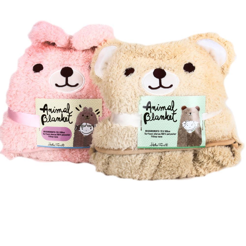 CHILDREN'S BLANKET TEDDY & BUNNY HF