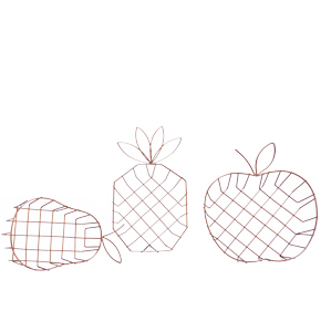 METALIC BASKET FRUITS (3designs) HF