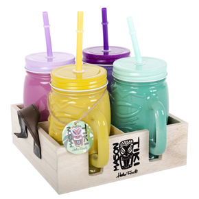 SET OF 4 MASON TIKI JARS HF