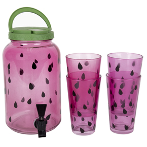 SET DISPENSER + 4 GLASSES WATERMELON HF