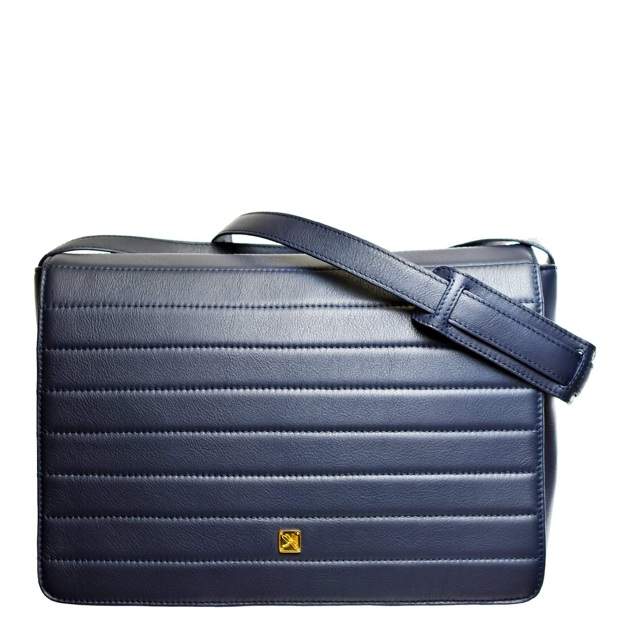Navy Blue Postman Crossbody. Leather Bags | TARA´S