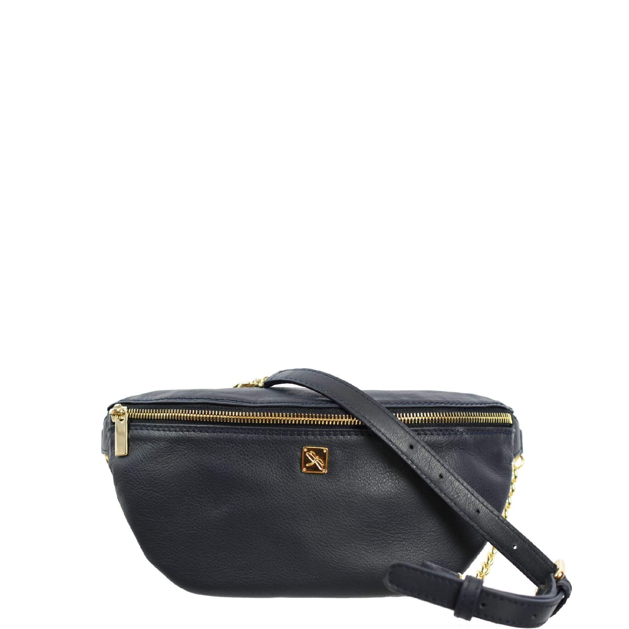 Navy Leather Fanny Pack - Leather Handbags | TARA´S