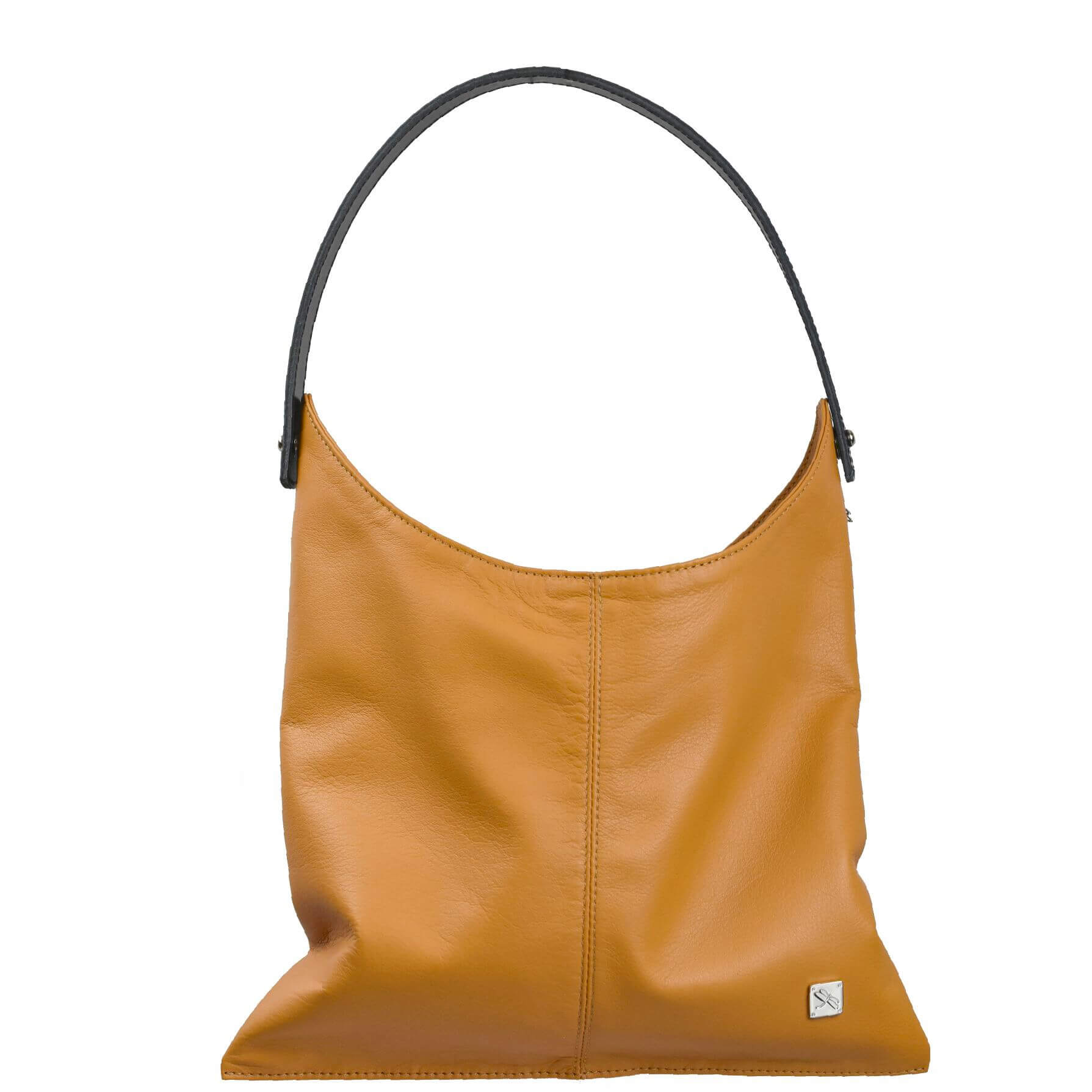 Camel Smooth Leather Hobo Bag. Deia