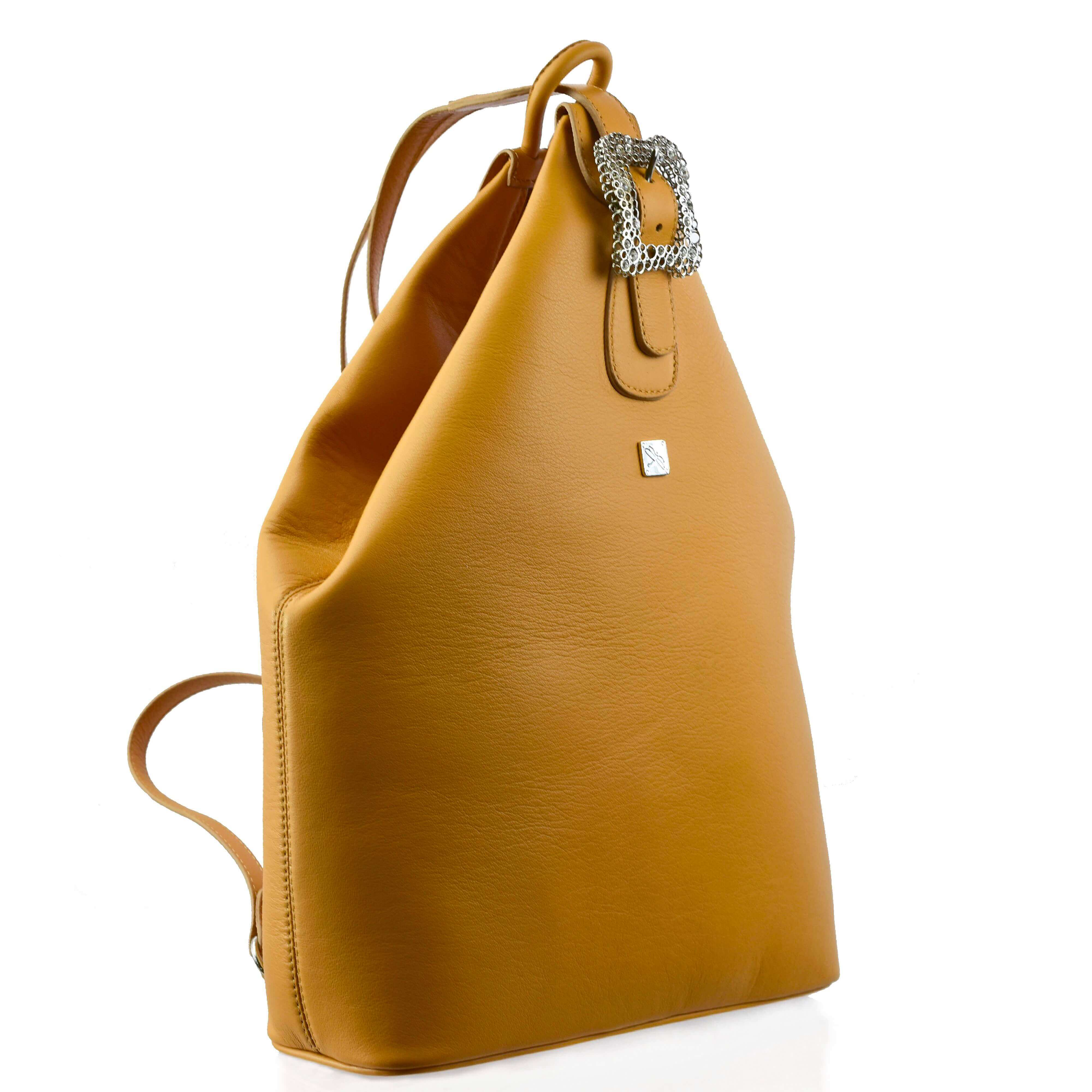 Camel Leather Backpack- Leather Handbags | TARA´S