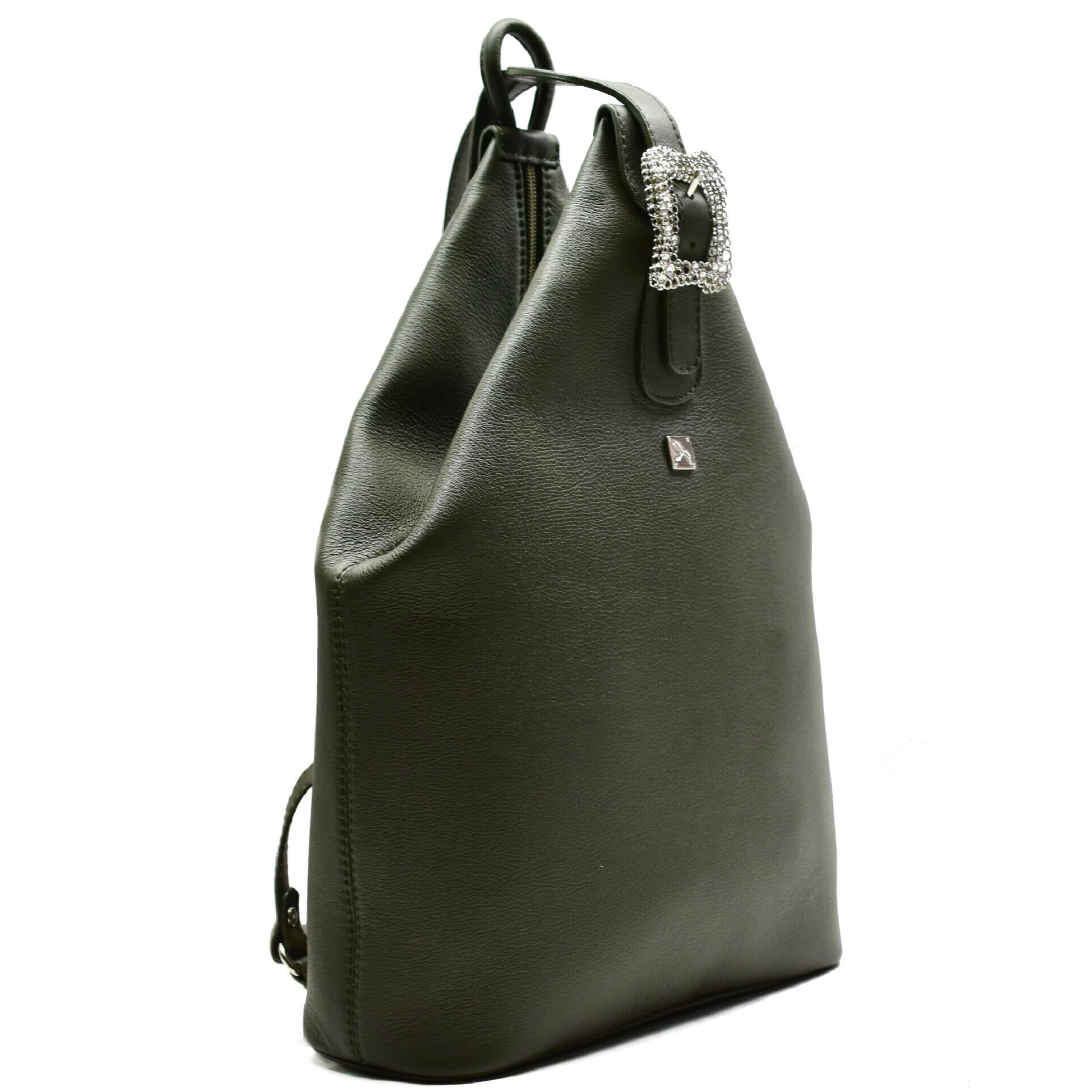 Green Leather Backpack. Mia