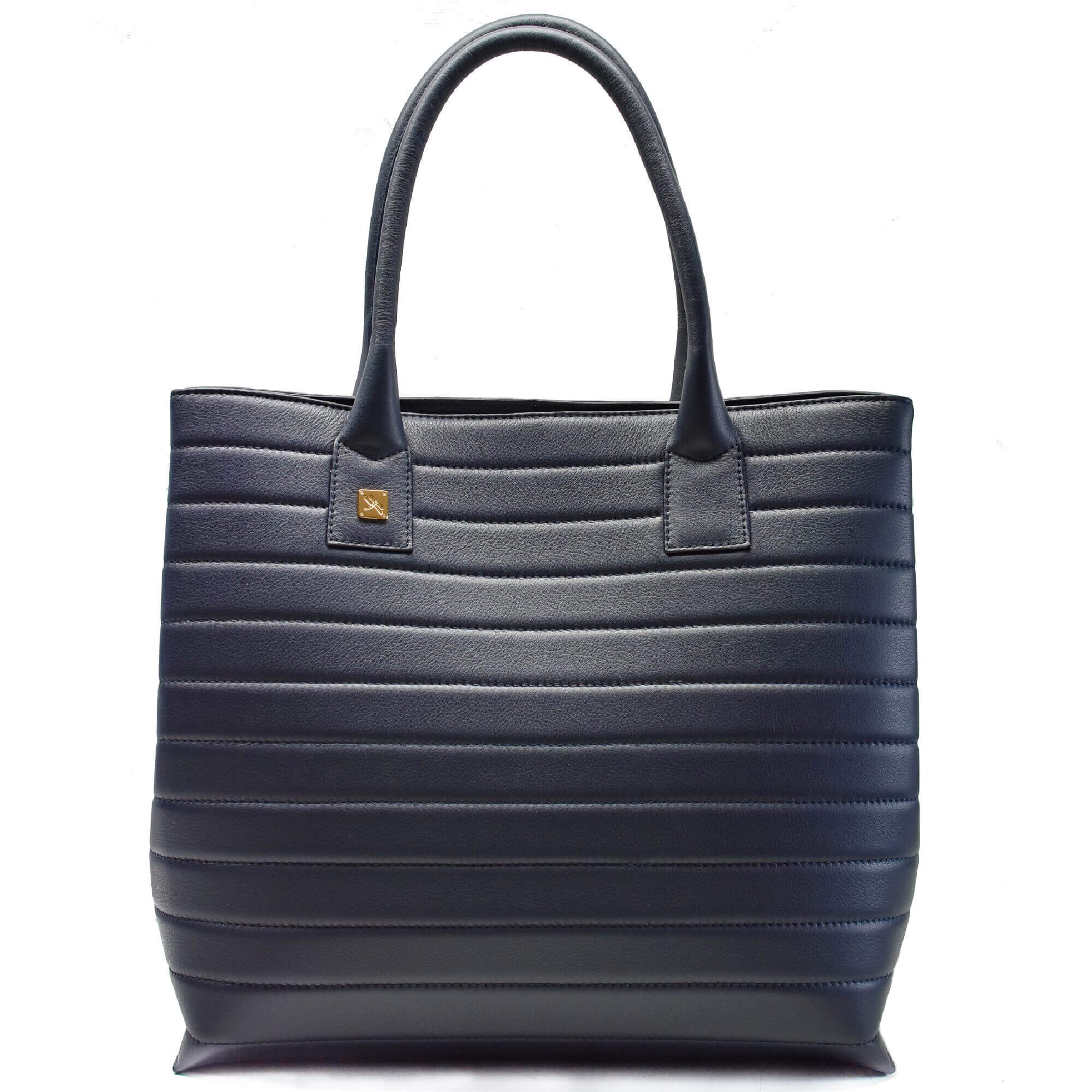 Navy Tote Leather Handbag. Natalia M
