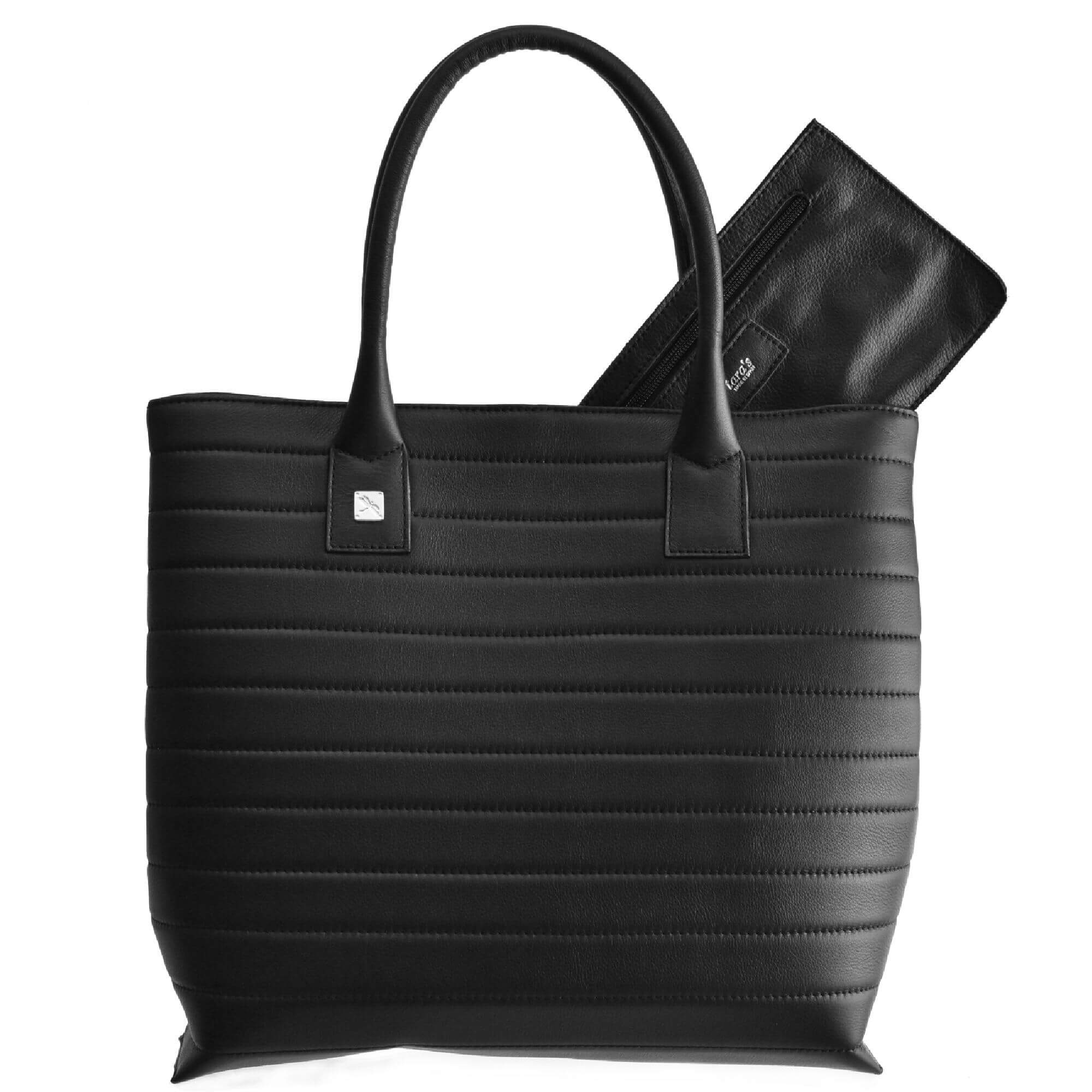 Black Tote Leather Handbag. Natalia M